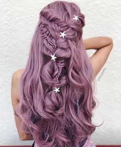 31 Graceful Long Braided Hairstyles To Try in 2019 Romantic and most beautiful ideas of long braided and wedding hairstyles for long hair to flaunt in You may use to wear these awesome hairstyles on wedding day for more awesome look. Pink Blonde Hair, Hair Color Purple, Cool Hair Color, Ombre Hair, Violet Hair, Long Purple Hair, Hair Goals Color, Hair Colours, Pastel Hair Colour