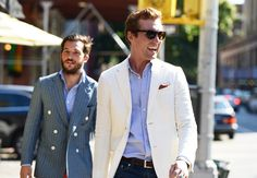 Summer style, white blazer on light blue shirt