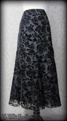 Romantic Black Rose Velvet Devore Long Skirt 12S Elegant Gothic Victorian Vtg | THE WILTED ROSE GARDEN