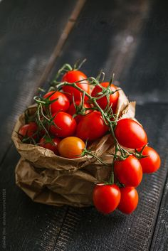 Cherry tomatoes on a wooden table by Davide Illini - Stocksy United Vegetables Photography, Fruit Photography, Fruit And Veg, Fruits And Veggies, Fruits Photos, Beautiful Fruits, Food Backgrounds, Delicious Fruit, Food Illustrations