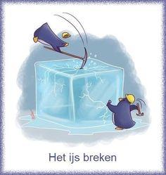 ⛸ Het ijs breken ⛸ Betekenis : een gesprek op gang brengen / zorgen dat iedereen zich meer op z'n gemak voelt. ⛸ Voorbeeld : het ijs is gebroken. (= na een kil begin is men vriendelijk tegen elkaar.) ⛸E: to break the ice. ⛸F: rompre la glace / briser la glace ⛸D: das Eis brechen ⛸ It: rompere il ghiaccio ⛸S: romper el hielo ⛸P: quebrar o gelo.