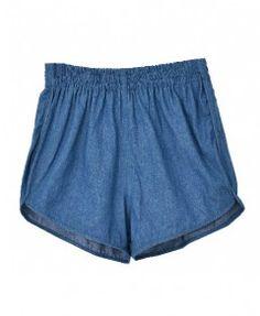 Cotton Denim Shorts with Elastic High Waist in Dark Blue