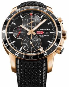 I usually don't dig gold watches, but this one fits perfectly. Chopard Mille Miglia Chrono GMT-1