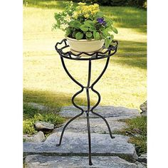 A pedestal style base supports the distinctive frame of this gorgeous plant stand that is certain to add the perfect touch to your home garden decor.