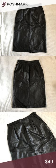 """Vintage High Waist Leather Skirt 10P 100% genuine leather vintage skirt. Waist 13"""" Length 27"""". This is a 10 Petite but can also be worn by someone who is not. Evan Davies Skirts"""