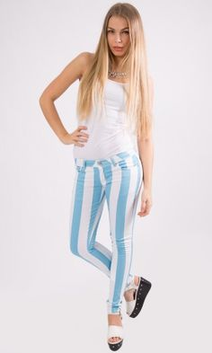 Skinny Fit Colour Striped Stretch White Denim Jeans Blue