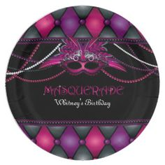 Masquerade, Pink & Black Party 9 Inch Paper Plate
