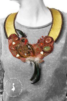 Sealartshop - etsy MAGIC BIRD - unique, Bead Embroidery NECKLACE