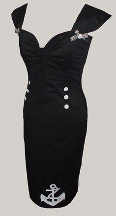Black nautical sailor Marilyn dress 50s rockabilly 8-20 | eBay