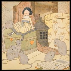 Mary Louise Spoor, 1917, chromolithograph, childrens illustration, hickory dickory dock, mice, doll