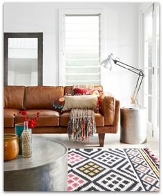 """""""Brooklyn"""" sofa from Freedom Furniture. Love the combination of energetic patterns with such a strong piece like s brown leather sofa. Home Living Room, Living Spaces, Kitchen Living, Freedom Furniture, The Design Files, Deco Design, Design Desk, Design Trends, Living Room Inspiration"""