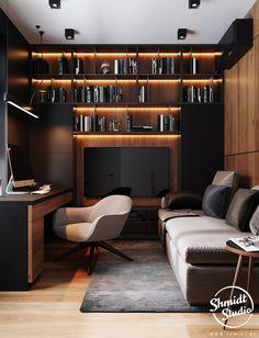 home office design Home Studio Setup, Home Office Setup, Home Office Space, Office Ideas, Desk Setup, Man Office, Office Sofa, Black Office, Cool Office