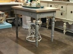 """French Grey Folding Table On Sale   Very unusual, rotate top and unfold for storage.   Also pivots on a single bolt inside.  39"""" Wide x 27"""" Deep x 32"""" High   Was $420 Sale Price $336  Vintage Affection Dealer #1680  White Elephant Antiques 1026 N. Riverfront Blvd., Dallas, TX 75207"""