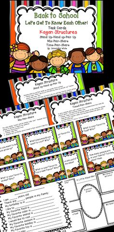 3.00 These Back to School Task Cards are a fun way for you and your students to get to know each other at the beginning of the school year! Using Kagan Structures are a great way to get your students actively involved and working cooperatively. And if you are a Kagan fan, using this activity also gets your students ready to use these three structures during the year!