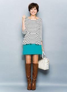 【着まわしday11】ボーダーペプラム×寒色台形スカート | ファッション コーディネート | with online on ウーマンエキサイト