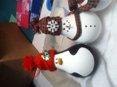 Penguin and snowman lightbulb ornaments