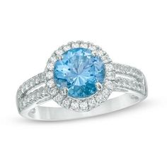 Zales Oval Blue Topaz and Diamond Accent Three Stone Frame Ring in Sterling Silver Wg85cjJSHI