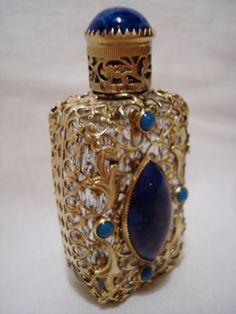 Vintage Czech Jeweled Filigree Mini Perfume Bottle