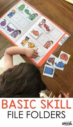 Basic Skills File Folder Bundle Basic skill file folder tasks sorting colors task for pre-school, special education, early childhood, . Kindergarten Special Education, Early Childhood Education, Kindergarten Classroom, Childhood Games, Primary Education, Education College, File Folder Activities, Folder Games, Sorting Colors