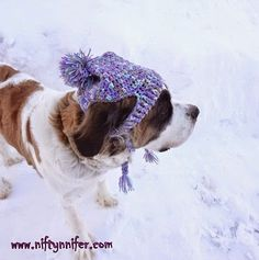 Free Crochet Pattern ~A Silly Hat For My Silly Dog http://www.niftynnifer.com/2015/01/free-crochet-pattern-silly-hat-for-my.html