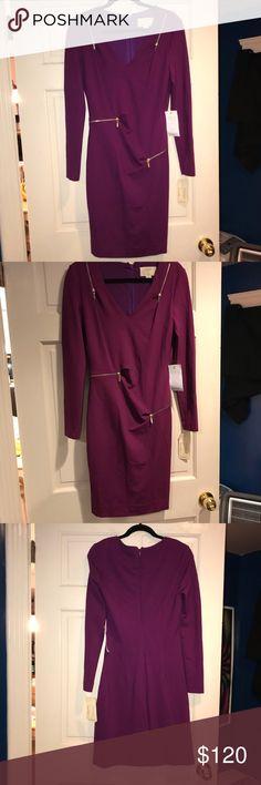 Nicole Miller Dress Artelier Nicole Miller purple v neck zipper dress brand new super cute dress it is stretchy it can also be a size 8 Nicole Miller Dresses Long Sleeve