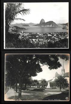 LOPES / THIELE. Fotografias (2) do Rio antigo: a) Thiele. Rio de Janeiro, Botafogo, nº 126, com nome do fotógrafo e localização na chapa, c. 1915. 16,0 x 22,2 cm; b) Lopes. Botafogo, Rio de Janeiro, nº 104, com nome do fotógrafo e localização na chapa, c. 1915. 16,3 x 22,2 cm. Fotos em bom estado. Na fotografia de Lopes aparece um bonde elétrico.