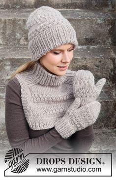 Knitting Stitches, Knitting Patterns Free, Free Knitting, Crochet Patterns, Drops Design, Hat And Scarf Sets, Bobble Stitch, Fingerless Mittens, Crochet Diagram