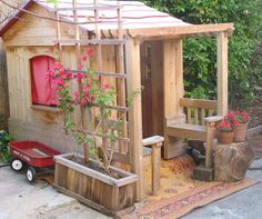 awesome outdoor playhouse  - we have this playhouse, now we just need to add the trellis & planters