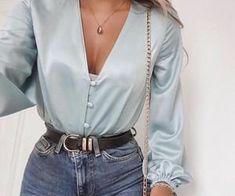 Sexy Deep V Neck Green Satin Tops Women Lantern Long Sleeve Casual Female Blouse Shirts Button Autumn Silk Tunic Blouses Blusas Black Women Fashion, Look Fashion, 90s Fashion, Fashion Dresses, Womens Fashion, Fashion Trends, Ladies Fashion, Feminine Fashion, Fashion Ideas