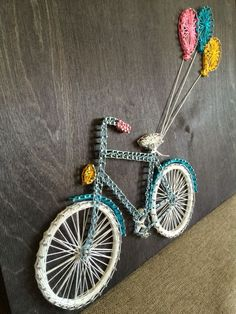 Latest Trend In Embroidery on Paper Ideas. Phenomenal Embroidery on Paper Ideas. String Art Heart, String Wall Art, Nail String Art, String Crafts, Diy Wall Art, Bicycle String Art, Wall Decor, Retro Crafts, Diy And Crafts