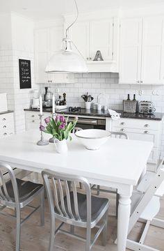 white cabinets, white subway tile backsplash #kitchen