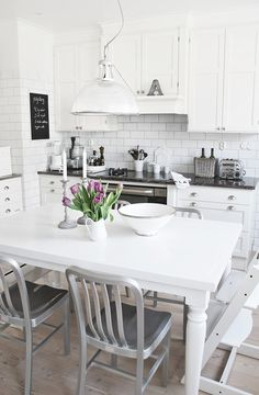 white cabinets, white subway tile backsplash #kitchen