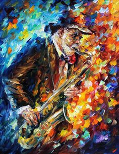 "Saxophone — PALETTE KNIFE Modern Oil Painting On Canvas By Leonid Afremov - Size: 30"" x 36"" (75cm x 90cm)"