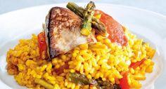 Arroz con verduras y foie fresco