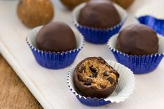 Protein-rich, candida-friendly raw vegan chocolate chip cookie dough truffles - *almost* too good to be true... + win a copy of the book they came from! Living Candida-Free by @rickiheller