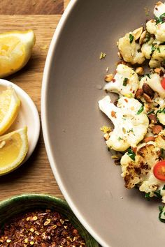 Pan-Roasted Cauliflower With Garlic, Parsley and Rosemary - NYT Cooking: Nearly any vegetable tastes good browned in olive oil and showered with garlic, parsley and rosemary, but cauliflower is an especially good candidate for this technique. The inherent sweetness of cauliflower begs for a hit of lemon and hot pepper too. Serve hot or at room temperature.