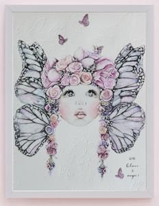 fine art print One Sonny Day. Australian kids and children's art. Soft pink flower crown, lilac floral headdress, delicate antique lace embossing, pink purple butterflies, butterfly wings, wings art, flying art. Perfect for wall art, little girls bedroom deco, children kids gifts, christening, baby shower, christmas present. Water colour, painting, quote