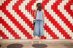 Striped cop top with denim culottes - summer style by The Shoe Diet