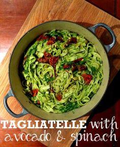 Tagliatelle with Avocado & Spinach Pesto