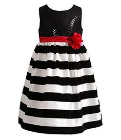 Sweet Heart Rose 2T-6X Sequin-Embellished-Bodice Stripe-Skirted Dress Girls 4f1769065