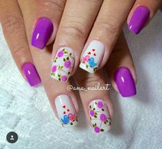 Flower Nail Designs, Flower Nail Art, Nail Art Designs, Wow Nails, Cute Nails, Spring Nails, Summer Nails, Cute Nail Polish, Short Nails Art