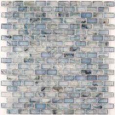 "Creative Decore  5/8"" x 1-1/4"" Mini Brick, Uniform Brick, Azul, Glossy, Blue, Glass"