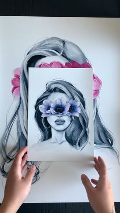 Woman with braids add feather in hair but with Indian paint brush flowers # Braids videos drawing Blindfolded prints Pencil Art Drawings, Art Drawings Sketches, Painting & Drawing, Watercolor Paintings, Pour Painting, Acrylic Paintings, Paint Brush Drawing, Acrylic Painting Flowers, Drawing Hair
