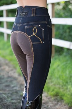 Equetech High Waist Denim Breeches-These are some pretty sweet full-seats! Equestrian Boots, Equestrian Outfits, Equestrian Style, Equestrian Fashion, Horse Riding Clothes, Riding Gear, Riding Boots, Horse Clothing, Riding Breeches