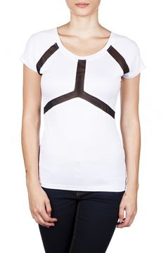 Short Sleeve Top with Contrast Mesh Inserts