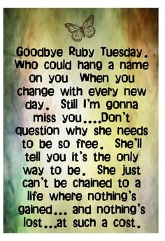 Rolling Stones - Ruby Tuesday - song lyrics music
