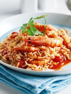 Κριθαράκι με γαρίδες - www.olivemagazine.gr Greek Beauty, Greek Recipes, Seafood, Spaghetti, Rice, Cooking, Ethnic Recipes, Magazine, Spring
