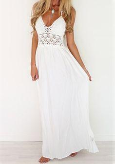 White Plain Condole Belt Hollow-out V-neck Floor Length Maxi Dress