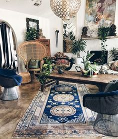 This room gives me so much life!! The blue color play, the texture and the boho style furniture. Perfect! I'd literally make this room my show off room in my home lol. (Old school plastic sofa covers) (no kids in that one living room grandma style) lol 📷: @atlantishome you slayed me! 👏😍🙌 #pinterest #homeblogger #home #interiorstyling #interiordecor #decor #plants #vintage #vintagestyle #vintagehome #instagood #interiordesign #inspiration #wicker #rattan #peacockhair #wood #woodworking…