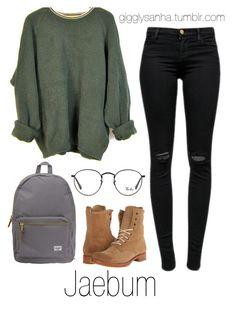 """College // Jaebum"" by suga-infires ❤ liked on Polyvore featuring J Brand, Frye, Ray-Ban and Herschel Supply Co."